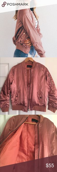 ROSE GOLD Bomber Jacket Small I bought this amazing jacket from another seller but unfortunately it doesn't fit me well so I have to re sell it. Asking same price I paid for it. I really like this jacket but I guess my back is too wide for it. Jackets & Coats