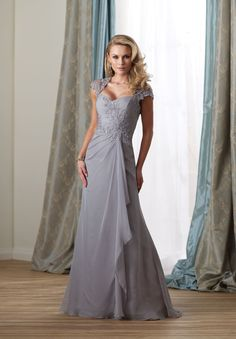 Chiffon Sweetheart A-Line Elegant Long Mother of The Bride Dress with Lace Cap Sleeves
