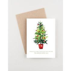 Watercolor Christmas Tree, Holiday 2015 Christmas and New Years... ❤ liked on Polyvore featuring home, home decor, holiday decorations, holiday home decor and holiday decor
