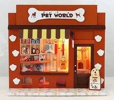 Dollhouse Miniature Kit w Light Pet World Store Shop | eBay