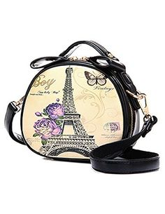 JOLLYCHIC Womens Retro Design Tower Print Zip Round Crossbody Shoulder Bag Size one size US Black -- See this great product.