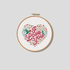 Love Birds 'I Love You' Cross Stitch Pattern by Stitchrovia, £4.50