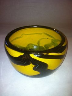 Hey, I found this really awesome Etsy listing at https://www.etsy.com/listing/158923035/hand-blown-glass-bowl-vivid-yellow-with