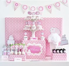 Pink Cake Mod Birthday Baby Girl Shower Party Decorations Kit #EventBlossom