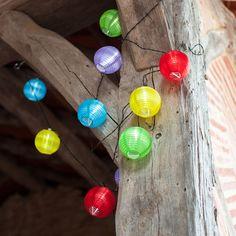 10 Multi Coloured LED Chinese Lanterns Solar Lights