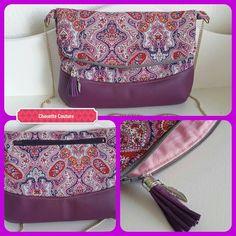 #couture #faitmain #creation #chouette_couture #accessoire #sac #femme #bag #tendance #pochette #girly #mode #violet #cashmere #pompon #plumes #rose #sewingbag #gard #bluecallacreations
