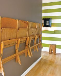 Chair Storage Ideas for Small Spaces--of course it helps to have great folding chairs like this...
