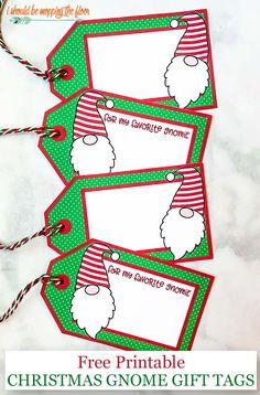 Free Printable Christmas Gnomes Gift Tags (with or without wording) Free Printable Christmas Gift Tags, Free Printable Gift Tags, Christmas Labels, Holiday Gift Tags, Christmas Gnome, Free Printables, Christmas Ideas, Christmas Crafts, Christmas Paper