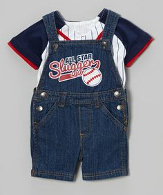This Medium Denim 'Slugger' Overalls & Baseball Tee - Infant by Little Rebels is perfect! #zulilyfinds
