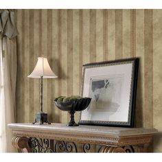Bronze Stripe - Tuscan - Arbor Rose Wallpaper by Warner Studios Warner Studios, Rose Wallpaper, Blue Stripes, Wall Murals, Color, Bronze, Home Decor, Wallpaper Murals, Decoration Home
