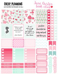 FREE Planner Stickers with Jane Austen quotes on cheapplanning.wordpress.com