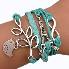 Bracelet Infini Tour Eiffe Oiseaux Bleu Ciel Infinity Karma