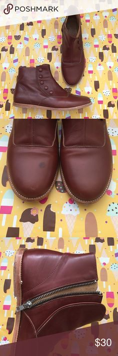 A.P.C madras bovin boots Bought at urban outfitters. Burgandy/brown vintage style leather ankle boots. 🔨 made in Portugal, Genuine leather!! (Very light wear) no real scratches except for what is documented on front right boot. Has a light dot on right toe, I lowered the price because of this. 40 European size equivalent to 9 US but I'm a size 8 and it fits perfect. A.P.C. Shoes Ankle Boots & Booties