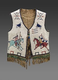 "Man's Vest, ca. 1890. The Nelson-Atkins Museum of Art, Kansas City, Missouri, Purchase: William Rockhill Nelson Trust through the George H. and Elizabeth O. Davis Fund and exchange of various Trust properties (2013.18) | This work is featured in our ""Plains Indians: Artists of Earth and Sky"" exhibition on view through May 10, 2015. #PlainsIndians #horses"