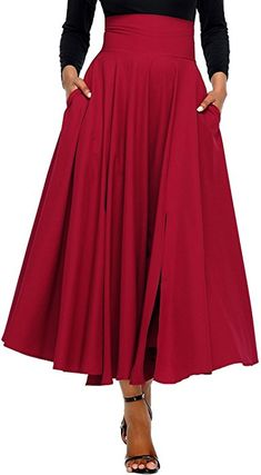 b5d3f80fb Diukia Women High Waist Casual A-Line Pleated Belted Long Maxi Skirt with  Pocket Large