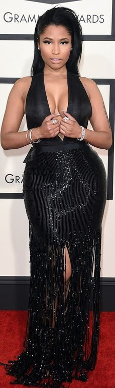 Nicki Minaj's black sequin gown and shoes red carpet fashion style id