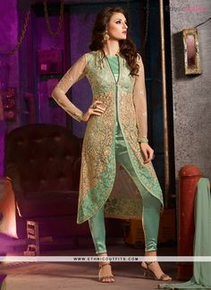 Integral Embroidered Work Sea Green Net Pant Style Suit