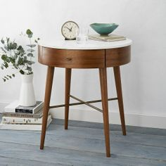 Penelope Nightstand, Large, Acorn/Marble at West Elm - Nightstand - Bedroom Furniture - Bedside Table Decor, Furniture, Modern Furniture, Home Accessories, Home Furniture, Home Decor, Side Table Wood, Mid Century Modern Bedroom, Mid Century Nightstand