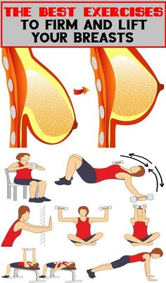 The fosllowing exercises won't turn A cups into Bs or beyond. But they can help you to build up your upper body muscles and improve the appearance of your breasts without having a surgery. Reto Fitness, Body Fitness, Fitness Diet, Fitness Motivation, Health Fitness, Health Club, Health Exercise, Exercise Motivation, Female Fitness
