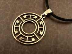 Stainless Steel Necklace Labyrinth with genuine leather belt, men jewelry, men necklace - pinned by pin4etsy.com