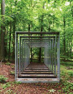 Art Barn - Jose Dávila's Container  Great garden art. Landscape Art, Landscape Architecture, Landscape Design, Land Art, Garden Art, Garden Design, Environmental Art, Outdoor Art, Autumn Trees