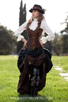 3 pc. Steampunk Dickens Victorian Corset and Double Bustle Skirt MajesticVelvets.com