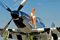 """2013 Pinup Girl Liz Ashley with the P-51 Mustang """"Quick Silver"""". Stop by www.warbirdpinups.com/store and see more from the expanded portfolios of all our beautiful pinup girls."""