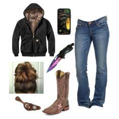A fashion look from September 2017 featuring fox jeans and tan cowboy boots. Browse and shop related looks. Country Western Outfits, Country Style Outfits, Southern Outfits, Country Girl Style, Country Fashion, Southern Clothing, Country Life, Cowgirl Outfits, Cowgirl Style