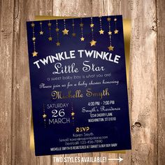 Twinkle Little Star Boy Baby Shower Blue and Gold by MyPrintPalace