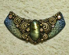 'Ancient Treasure' - polymer clay fantasy pendant with Labradorite and 6 Swarovski crystals by Sweet2Spicy, via Flickr
