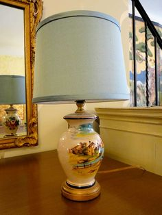 1930s hand-painted and signed European lamp | Twice by Kelly Rauch
