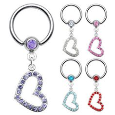 Captive bead ring with dangling jeweled heart, 14 ga. #piercing #piercingjewelry #jewelry #bodypiercing #bodyjewelry ♥ $10.99 via OnlinePiercingShop.com