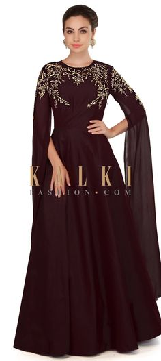 Chocolate brown embroidered dress with fancy slit sleeve only on Kalki Trendy Dresses, Simple Dresses, Latest Gown Design, Designer Kurtis, Designer Dresses, Indian Gowns, Indian Wear, Drape Gowns, Gowns With Sleeves