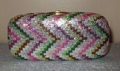 RARE Judith Leiber Chevron Zigzag Pink Green Multi Crystal Miniaudiere Clutch.