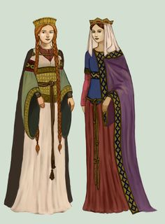 Early Medieval clothing: Frankish women from the time of the Merovingian dynasty wore colourful tunics, fastened with two belts and a band of precious materials. They wore their hair in long pleats, covered with veils or caps. Medieval Costume, Medieval Dress, Medieval Fashion, Medieval Clothing, Women's Clothing, Clothing Sketches, Historical Costume, Historical Clothing, Carolingian