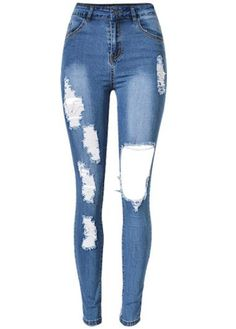 Blue Ripped Distressed Destroyed Skinny Jeans