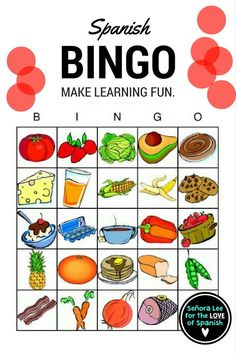 Learn the names of popular foods in Spanish with these bright and beautiful Bingo cards! Includes 25 food vocabulary words, 40 bingo cards (printed 2 per page) and a call list. Students will LOVE this!