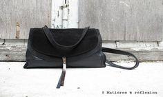 #Besace #XL #Double #Black #leather #buckskin @Matières à réflexion