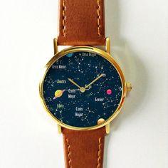 Constellation Watch, Planets Watch, Galaxy Watch, Women Watches, Boyfriend Watch, Men's watch, Ladies Watch, Gift, Gold watch, Rose Gold,