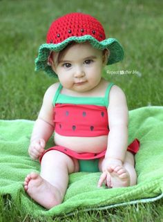 2bedca93485 Crochet Watermelon Sun Hat. Crochet CapDouble CrochetFree CrochetCrochet  StitchesRepeat Crafter MeCrochet For KidsCrochet Summer HatsCrochet Baby ...