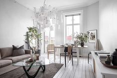 my scandinavian home: A Small Swedish Apartment In Fresh White and Soft Grey Small Space Living, Small Spaces, Living Spaces, Living Room, Ikea I, Swedish House, Scandinavian Home, Grey Walls, Cozy House