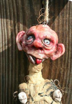 Klopp OOAK Doll Original Dark Art Creepy Dead Curiosity Goth Zombie Articulatad