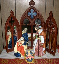 nativity sets | ... such a wonderful display of all shapes colors sizes of nativity sets