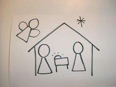 How to draw nativity - use with Shrinky Dinks for ornament