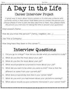 Career Interview: 'Day in the Life' Occupation Research: Perfect for Career Day! Career Counseling, Education College, School Counselor, Elementary Schools, Elementary Counseling, Education Week, Business Education, Music Education, Physical Education