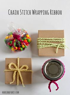 Chain Stitch Crochet Wrapping Ribbon @Make and Takes.com #crochetaday