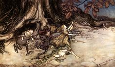 Peter Pan in Kensington Gardens by J.M. Barrie and illustrated by Arthur Rackham, 1906