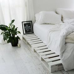 How peaceful & sleek is this bedroom set up with the palettes frame and crisp white linen. RG from featuring our silky white bamboo sheets & cover. Pallet Bedframe, Cosy Bedroom, Small Room Bedroom, Bedroom Decor, Small Rooms, Bedroom Ideas, Couches, Budget Bedroom, Bed Styling