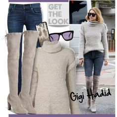 A fashion look from December 2015 by hamaly featuring Vianel, Citizens of Humanity, Karen Walker, GetTheLook, Sweater, suedeboots, waystowear and gigihadid