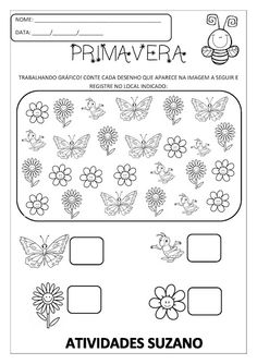 Primavera   Atividades Pedagogica Suzano Preschool Colors, Preschool At Home, Preschool Math, Kindergarten Worksheets, Math Activities, Learn Arabic Alphabet, Special Needs Students, Learning Numbers, 1st Grade Math